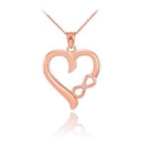 Rose Gold Infinity Heart Diamond Pendant Necklace