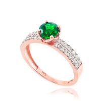 Genuine Emerald Rose Gold Diamond Pave Engagement Ring
