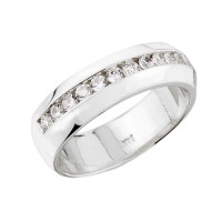 White Gold Diamond Unisex Wedding Band