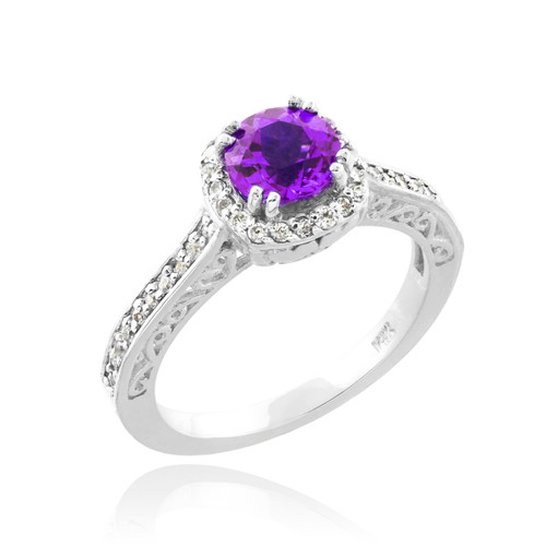 White Gold Amethyst Solitaire Halo Diamond Pave Engagement