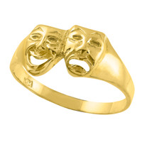 Yellow Gold Drama Mask Ring