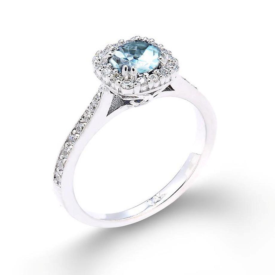 Beautiful 14k White Gold Aquamarine And Diamond Proposal