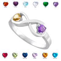 Sterling Silver Dual Heart CZ Birthstone Infinity Ring