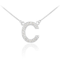 """14k White Gold Letter """"C"""" Diamond Initial Necklace"""