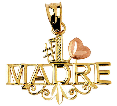 #1 Madre pendant in two-tone yellow and rose gold.