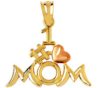 #1 Mom pendant with pink heart in gold.