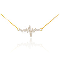 14K Gold Heartbeat Diamond Necklace