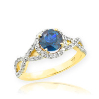 Gold Blue Topaz Birthstone Infinity Ring with Diamonds