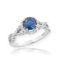 White Gold Blue Topaz Birthstone Infinity Ring with Diamonds