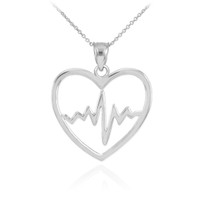 Sterling Silver Heartbeat Pulse Pendant Necklace