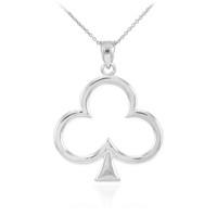 White Gold Clover Shamrock Pendant Necklace