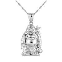 Silver Laughing Buddha Pendant Necklace