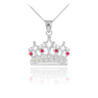 White Gold Ruby Crown Pendant Necklace with Diamonds