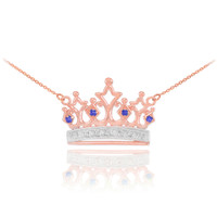 14k Rose Gold Sapphire Crown Necklace with Diamonds
