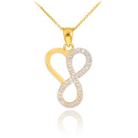 14k Gold Infinity Heart Pendant Necklace with Diamonds