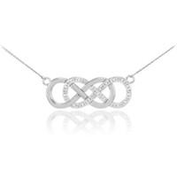 14k White Gold Diamond Double Infinity Necklace