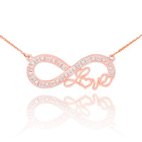 """14k Rose Gold Infinity """"Love"""" Script Necklace with Diamonds"""