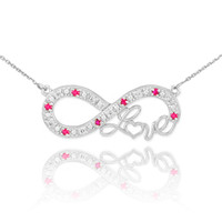 "14k White Gold Ruby Infinity ""Love"" Script Necklace with Diamonds"