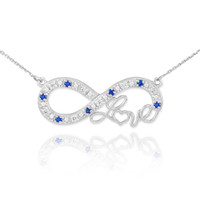 "14k White Gold Sapphire Infinity ""Love"" Script Necklace with Diamonds"