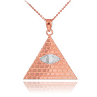 Two-Tone Rose Gold Egyptian Pyramid with All-Seeing Eye of Horus Pendant Necklace