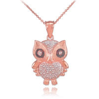 Two-Tone Rose Gold Owl Pendant Necklace with Diamonds