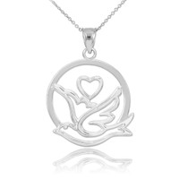 Sterling Silver Dove with Heart Pendant Necklace