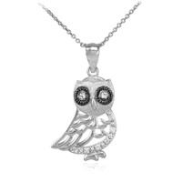 Polished White Gold Owl Pendant Necklace with Diamonds