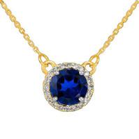 14k Gold Diamond Blue Sapphire Necklace