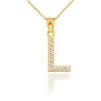 """Gold Letter """"L"""" Diamond Initial Pendant Necklace"""