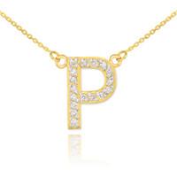 "14k Gold Letter ""P"" Diamond Initial Necklace"