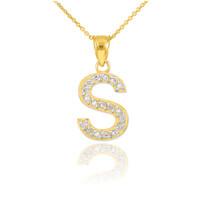 "Gold Letter ""S"" Diamond Initial Pendant Necklace"