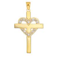 Gold Cross with Diamond Heart Pendant