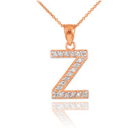 "Rose Gold Letter ""Z"" Diamond Initial Pendant Necklace"