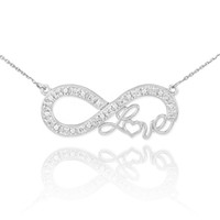 "Sterling Silver Infinity ""Love"" Script CZ Necklace"