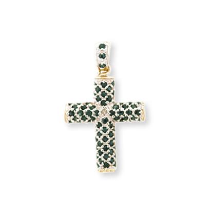 Yellow Gold Sapphire Cross Pendant