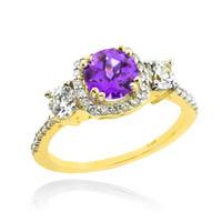 Gold Amethyst Diamond Engagement Ring