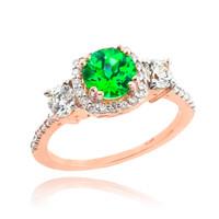 Rose Gold Emerald Diamond Engagement Ring