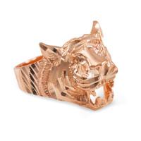 Unisex Rose Gold Diamond Cut Tiger Ring