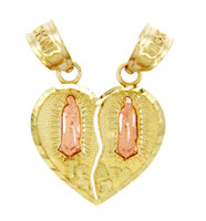 14k Two Tone Guadalupe Te Amo Breakable Gold Heart Pendant
