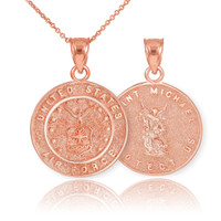 Rose Gold US Air Force Reversible St. Michael Pendant Necklace