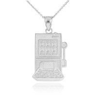 White Gold Casino Slot Machine Pendant Necklace