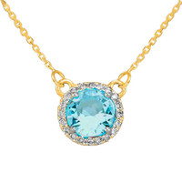 14k Gold Diamond Aquamarine Necklace