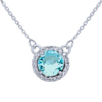 14k White Gold Diamond Aquamarine Necklace