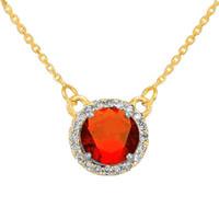 14k Gold Diamond Garnet Necklace