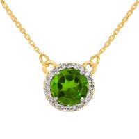 14k Gold Diamond Peridot Necklace
