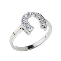 White Gold CZ Studded Horseshoe Ladies Ring