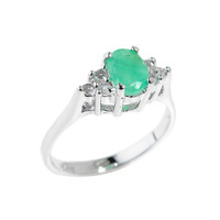 Sterling Silver May Birthstone Emerald Ladies Ring
