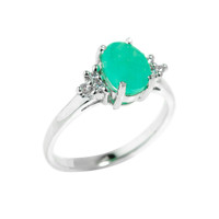 Sterling Silver May Birthstone Emerald Gemstone Ring