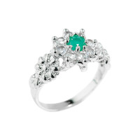 Beautiful Genuine Emerald Gemstone Ladies Ring