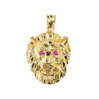 Solid Yellow Gold Diamond Cut Lion Head Pendant